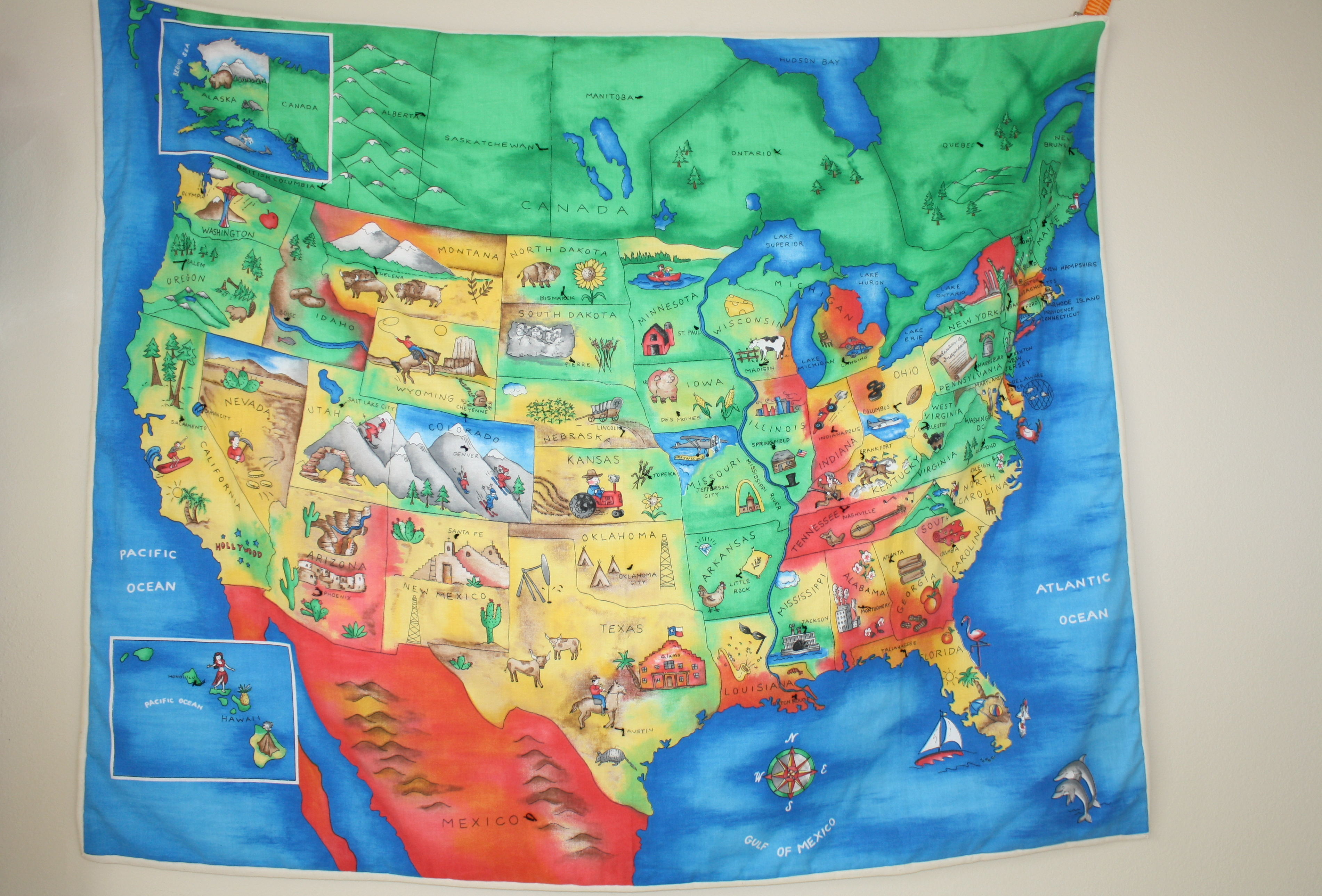 Quilted Learning - Usa map landmarks